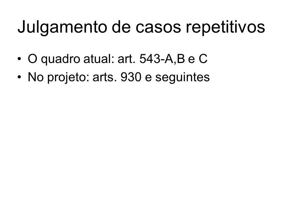Julgamento de casos repetitivos O quadro atual: art. 543-A,B e C No projeto: arts. 930 e seguintes