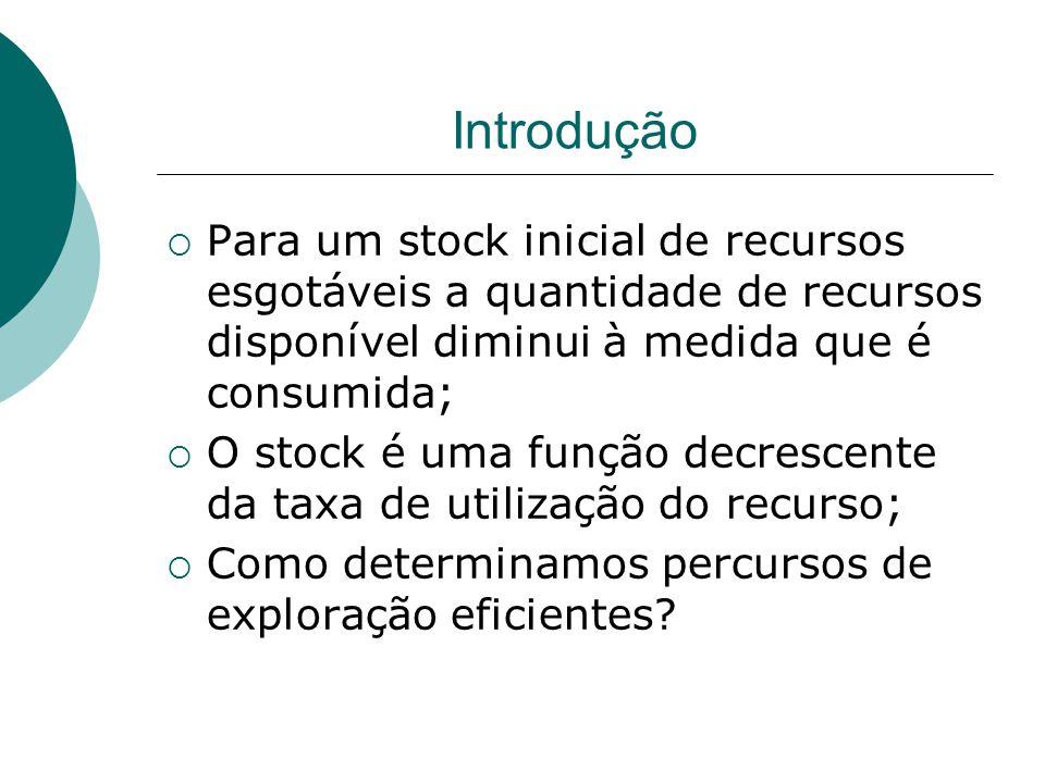 Introdução  Para um stock inicial de recursos esgotáveis a quantidade de recursos disponível diminui à medida que é consumida;  O stock é uma função decrescente da taxa de utilização do recurso;  Como determinamos percursos de exploração eficientes?