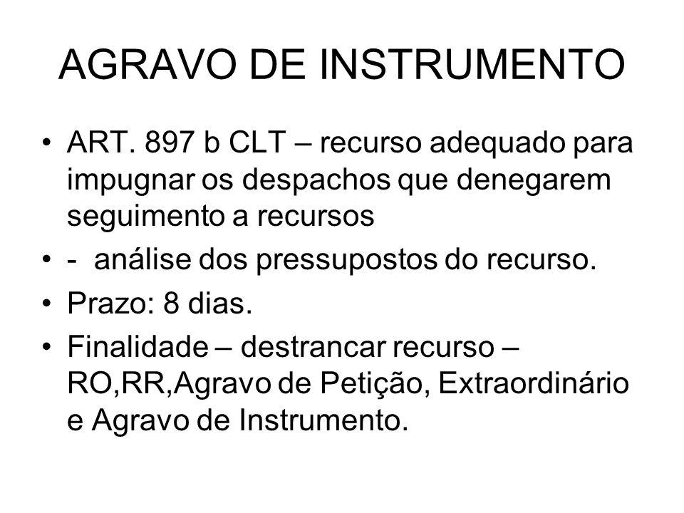 AGRAVO DE INSTRUMENTO ART. 897 b CLT – recurso adequado para impugnar os despachos que denegarem seguimento a recursos - análise dos pressupostos do r