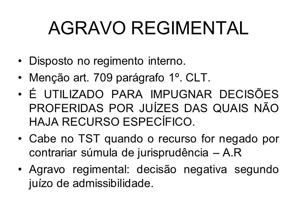 AGRAVO REGIMENTAL Disposto no regimento interno.Menção art.