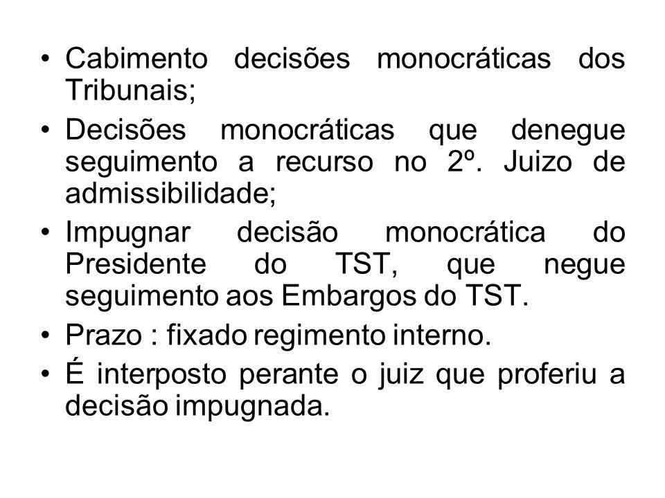 Cabimento decisões monocráticas dos Tribunais; Decisões monocráticas que denegue seguimento a recurso no 2º. Juizo de admissibilidade; Impugnar decisã