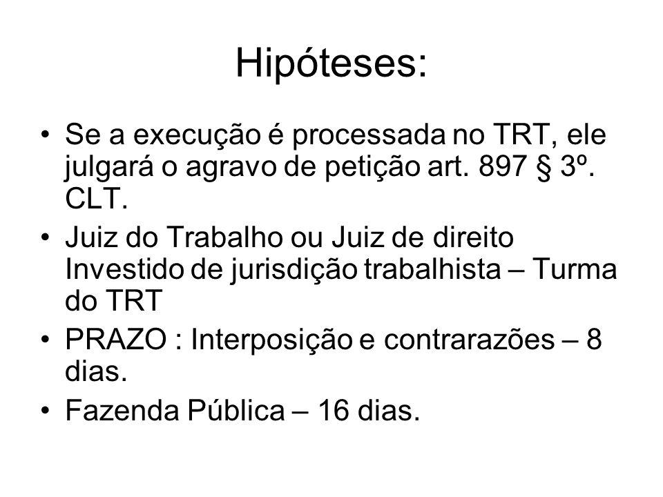 Hipóteses: Se a execução é processada no TRT, ele julgará o agravo de petição art.