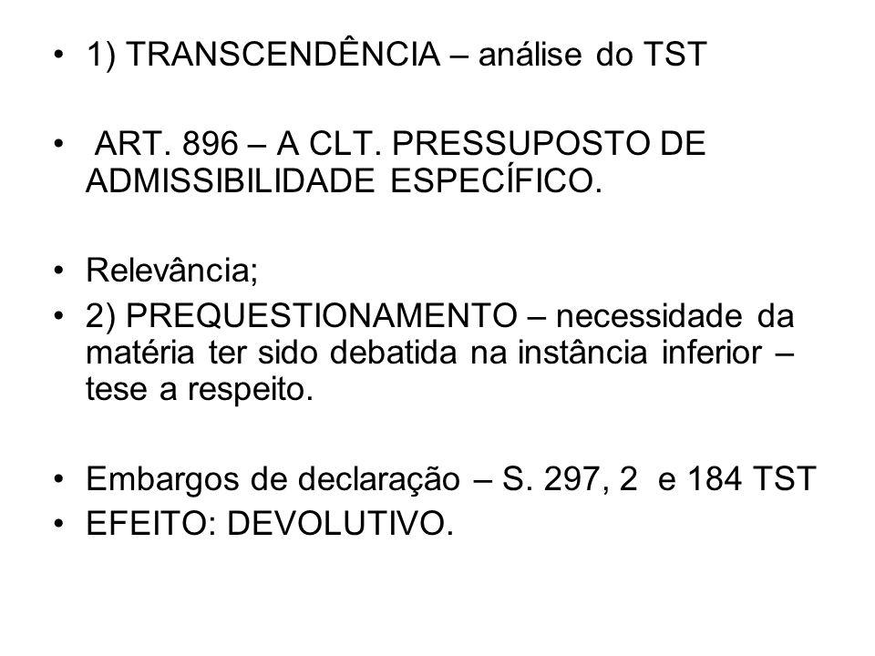 1) TRANSCENDÊNCIA – análise do TST ART. 896 – A CLT. PRESSUPOSTO DE ADMISSIBILIDADE ESPECÍFICO. Relevância; 2) PREQUESTIONAMENTO – necessidade da maté