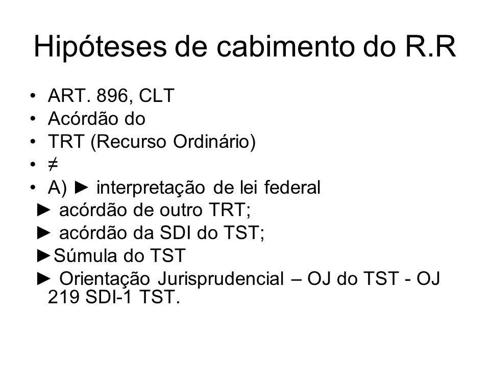 Hipóteses de cabimento do R.R ART. 896, CLT Acórdão do TRT (Recurso Ordinário) ≠ A) ► interpretação de lei federal ► acórdão de outro TRT; ► acórdão d