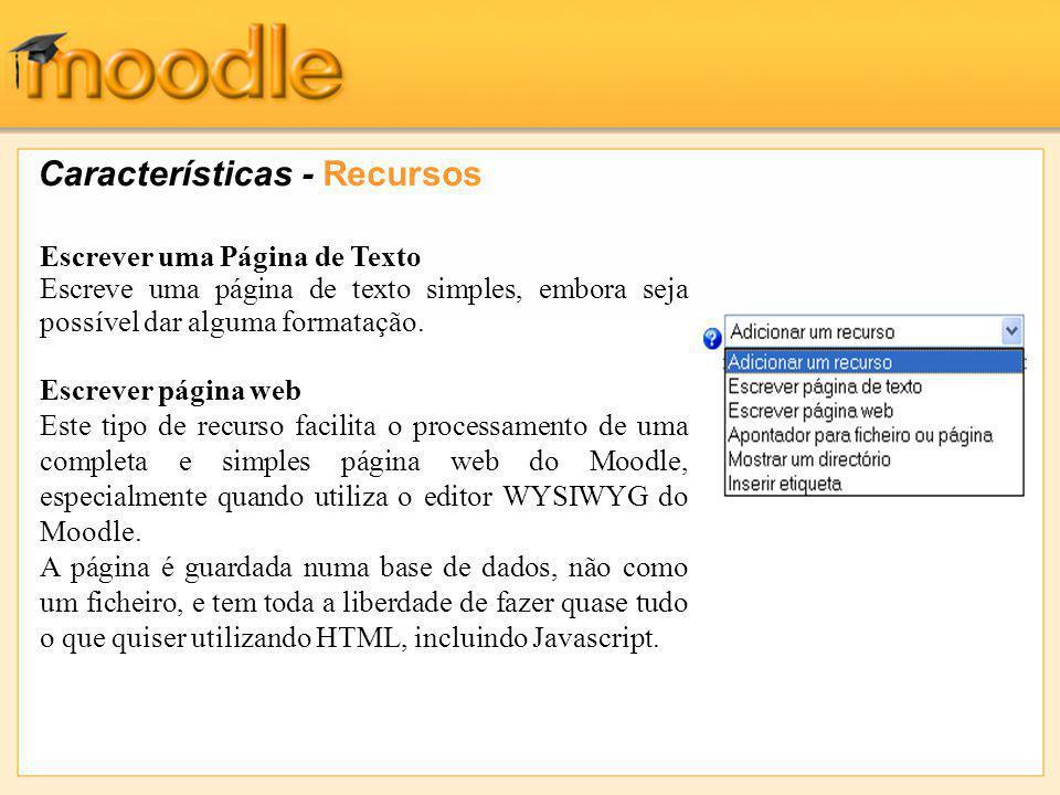 Características - Recursos Escrever uma Página de Texto Escreve uma página de texto simples, embora seja possível dar alguma formatação.