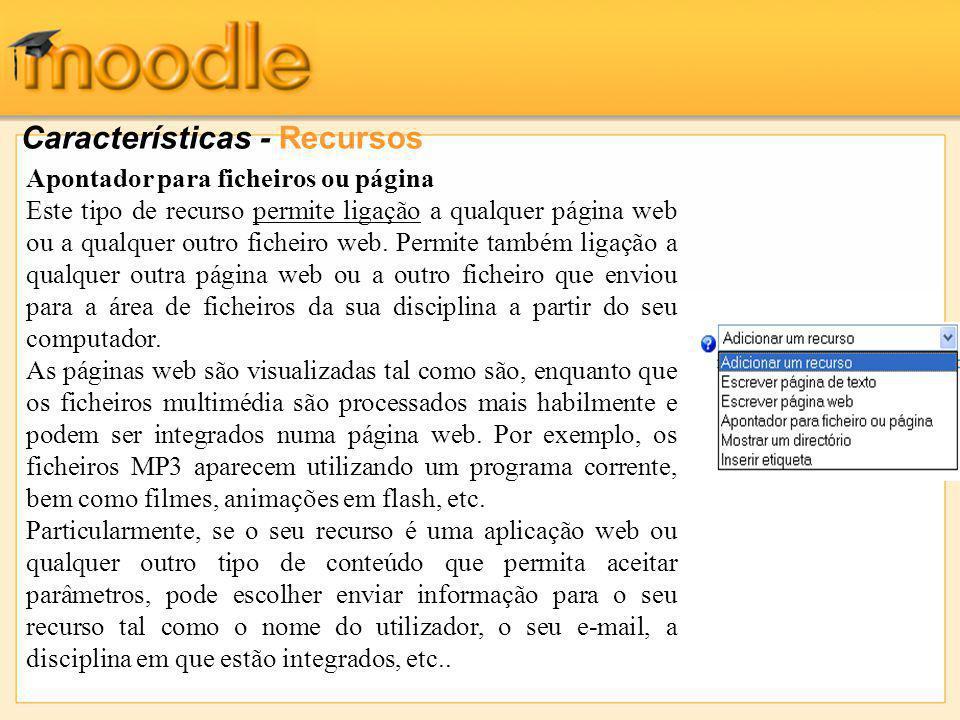 Características - Recursos Apontador para ficheiros ou página Este tipo de recurso permite ligação a qualquer página web ou a qualquer outro ficheiro web.