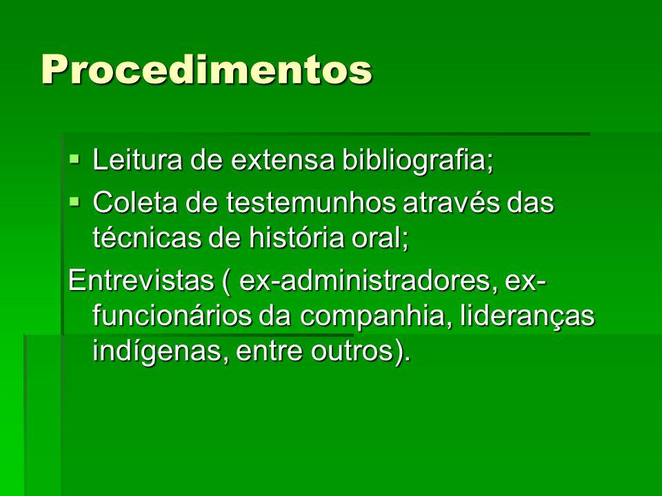 Procedimentos  Leitura de extensa bibliografia;  Coleta de testemunhos através das técnicas de história oral; Entrevistas ( ex-administradores, ex-