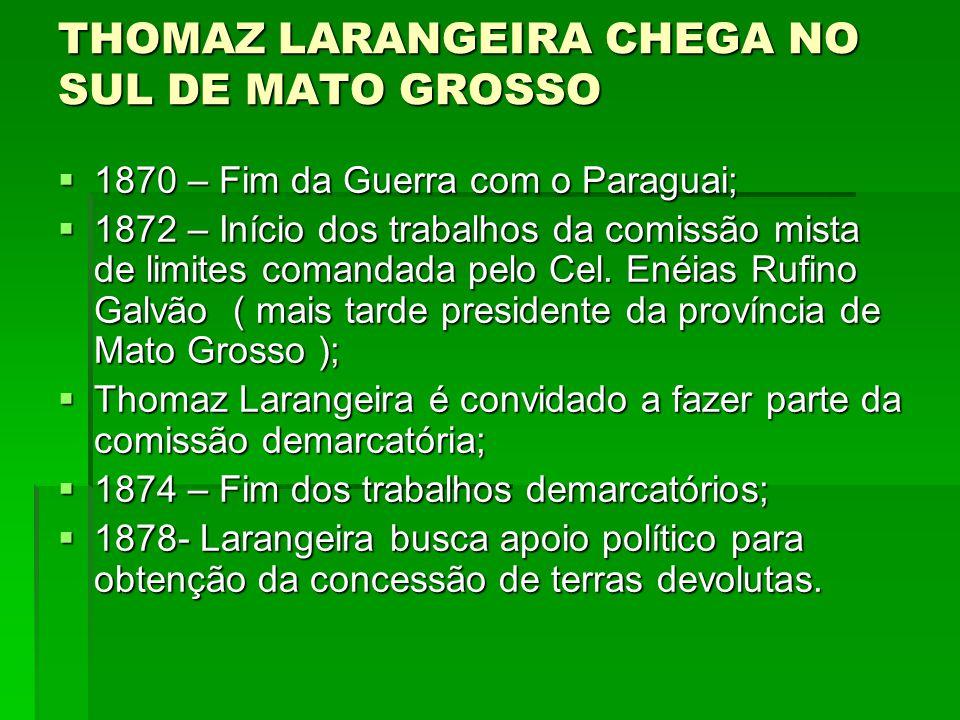 THOMAZ LARANGEIRA CHEGA NO SUL DE MATO GROSSO  1870 – Fim da Guerra com o Paraguai;  1872 – Início dos trabalhos da comissão mista de limites comand