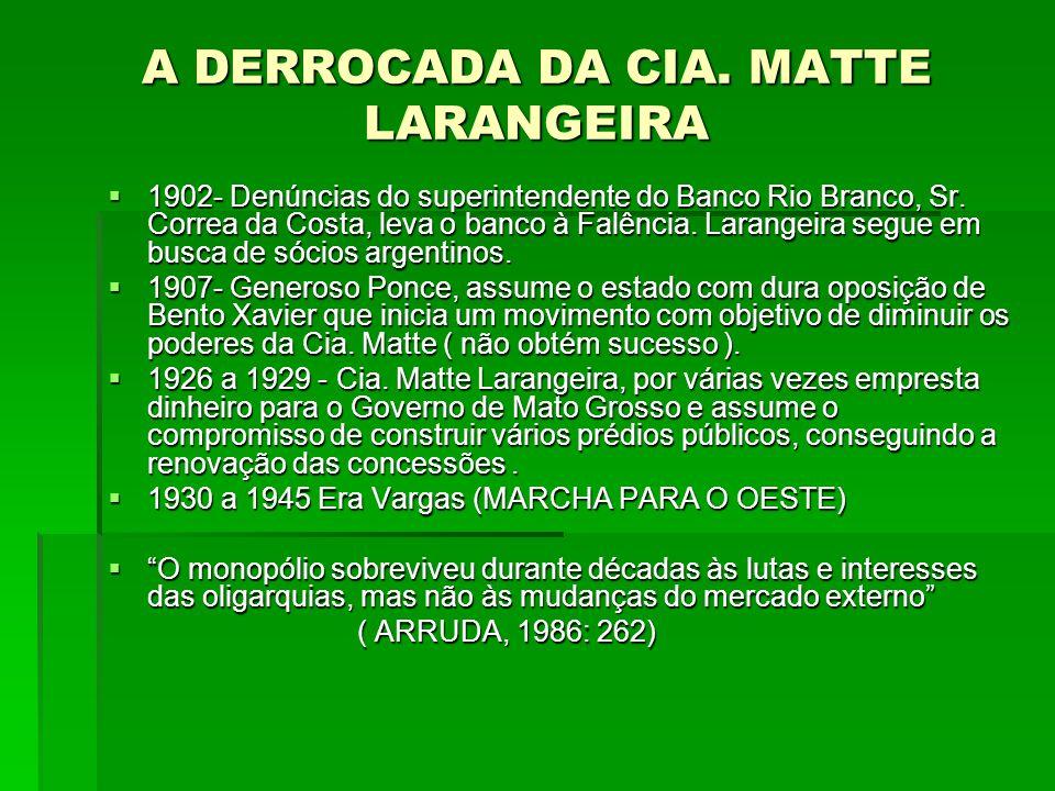 A DERROCADA DA CIA. MATTE LARANGEIRA  1902- Denúncias do superintendente do Banco Rio Branco, Sr. Correa da Costa, leva o banco à Falência. Larangeir