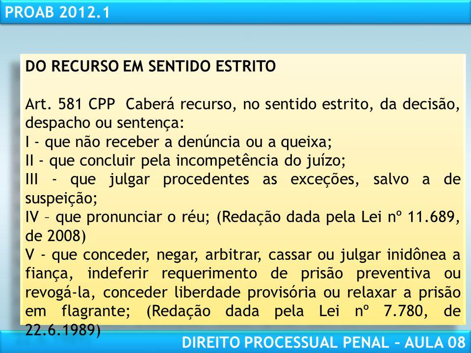 RESPONSABILIDADE CIVIL AULA 1 PROAB 2012.1 DIREITO PROCESSUAL PENAL – AULA 08 DO RECURSO EM SENTIDO ESTRITO Art.