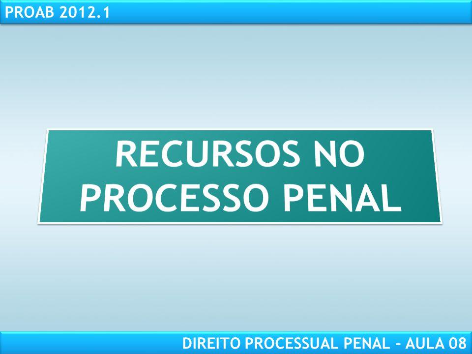 RESPONSABILIDADE CIVIL AULA 1 PROAB 2012.1 DIREITO PROCESSUAL PENAL – AULA 08
