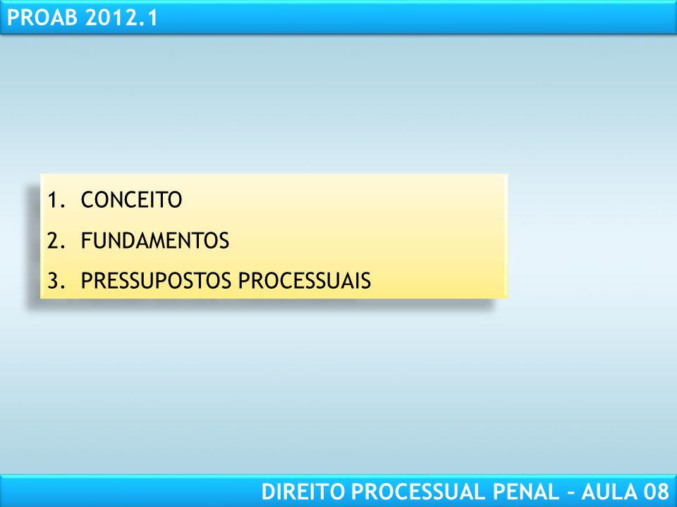 RESPONSABILIDADE CIVIL AULA 1 PROAB 2012.1 DIREITO PROCESSUAL PENAL – AULA 08 1.CONCEITO 2.FUNDAMENTOS 3.PRESSUPOSTOS PROCESSUAIS 1.CONCEITO 2.FUNDAMENTOS 3.PRESSUPOSTOS PROCESSUAIS