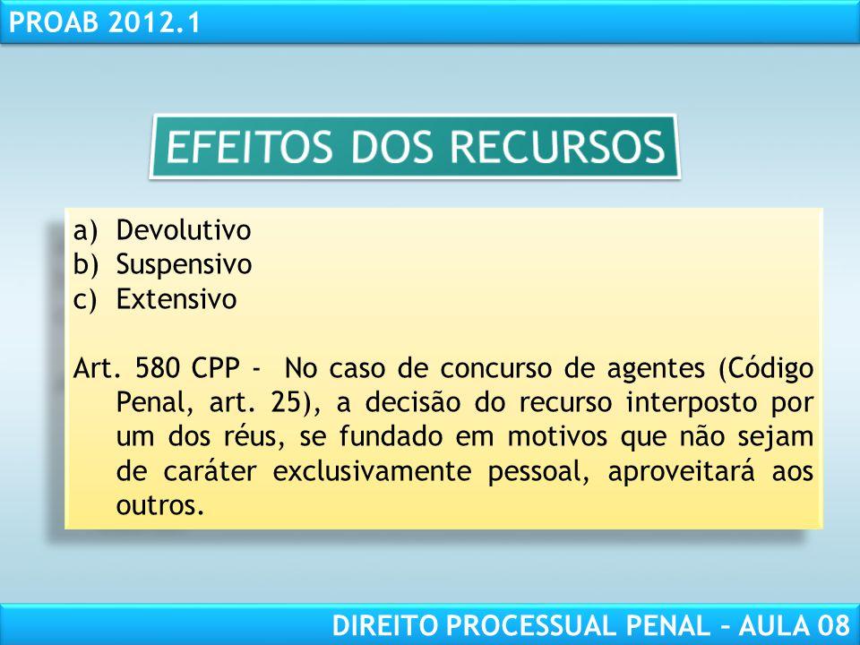 RESPONSABILIDADE CIVIL AULA 1 PROAB 2012.1 DIREITO PROCESSUAL PENAL – AULA 08 a)Devolutivo b)Suspensivo c)Extensivo Art.