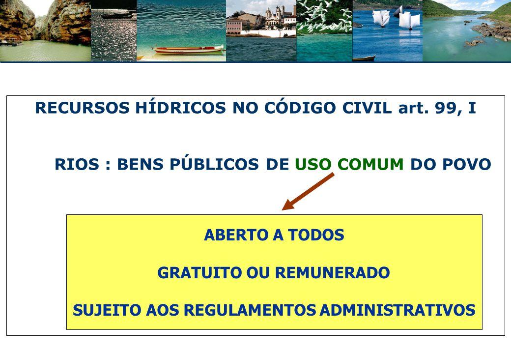 USO DE BEM PÚBLICO: ADEQUAÇÃO AOS REGULAMENTOS USO PRIVATIVO: EM DETRIMENTO DOS OUTROS INTERESSES => MANIFESTAÇÃO DO PODER PÚBLICO AUTORIZANDO E USO E IMPONDO CONDIÇÕES => outorga do direito de uso de recursos hídricos