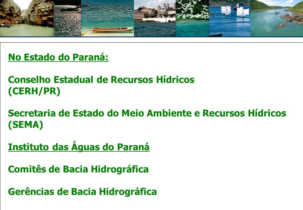 Instrumentos das Políticas de Recursos Hídricos:  Planejamento  Controle  Instrumento econômico