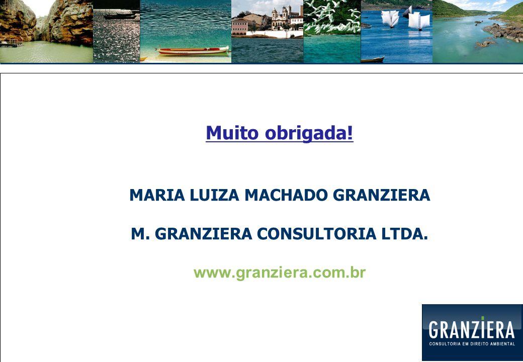 Muito obrigada! MARIA LUIZA MACHADO GRANZIERA M. GRANZIERA CONSULTORIA LTDA. www.granziera.com.br