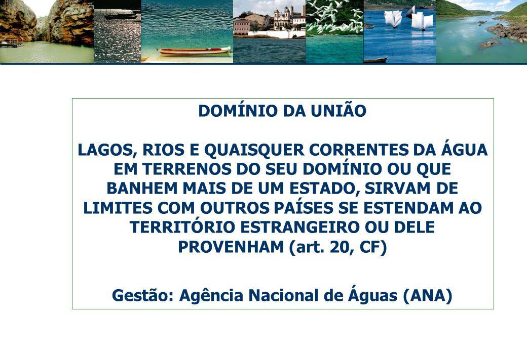 Rios de domínio da União: Amazonas São Francisco Iguaçu Paraná Piracicaba – SP Paraíba Doce Tocantins Margem do rio Paraguai, com mata ciliar