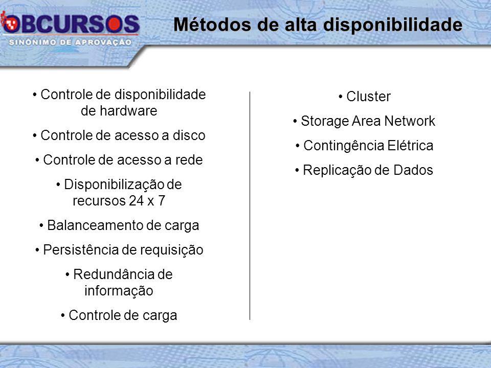Controle de disponibilidade de hardware Controle de acesso a disco Controle de acesso a rede Disponibilização de recursos 24 x 7 Balanceamento de carg