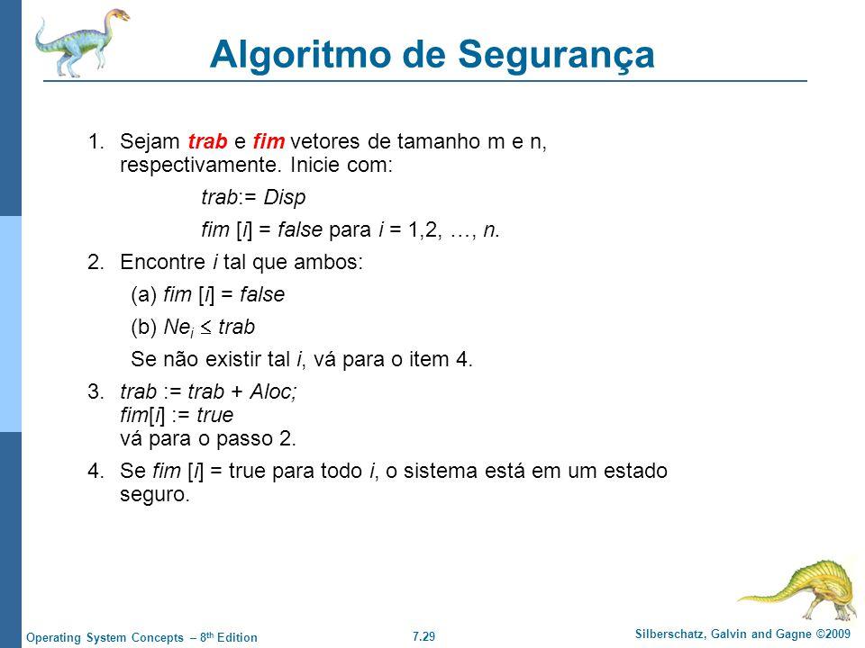 7.29 Silberschatz, Galvin and Gagne ©2009 Operating System Concepts – 8 th Edition Algoritmo de Segurança 1.Sejam trab e fim vetores de tamanho m e n,