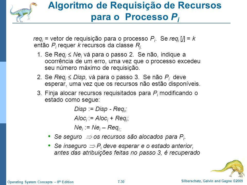 7.30 Silberschatz, Galvin and Gagne ©2009 Operating System Concepts – 8 th Edition Algoritmo de Requisição de Recursos para o Processo P i req i = vet