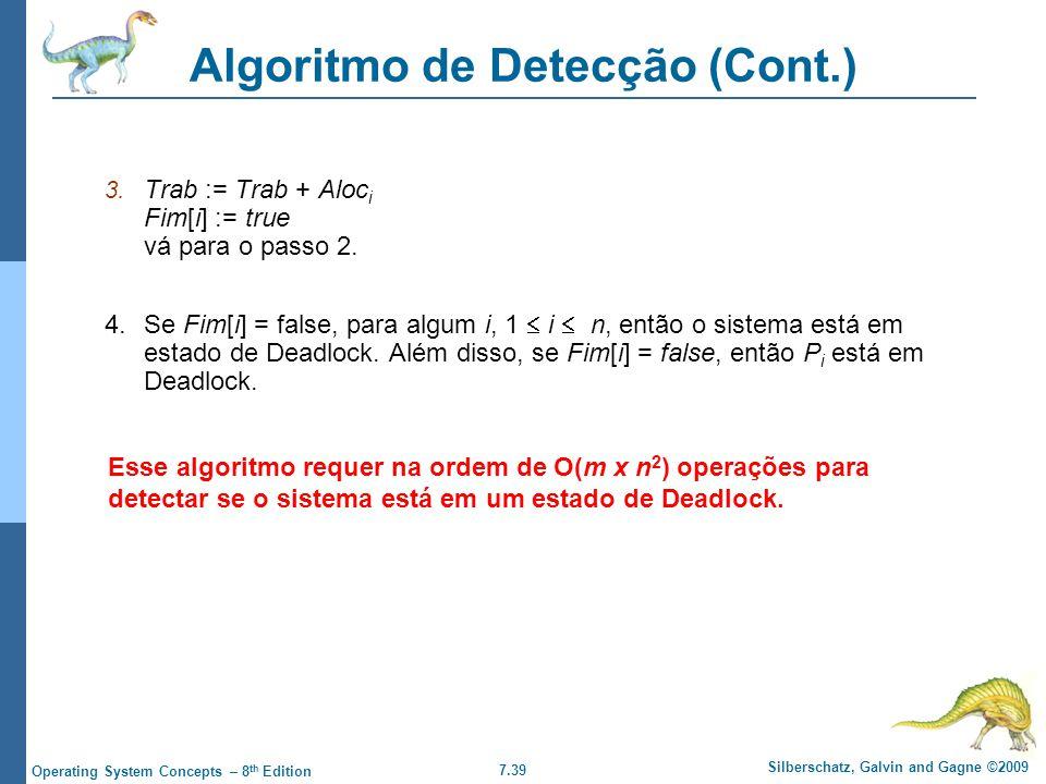 7.39 Silberschatz, Galvin and Gagne ©2009 Operating System Concepts – 8 th Edition Algoritmo de Detecção (Cont.) 3. Trab := Trab + Aloc i Fim[i] := tr