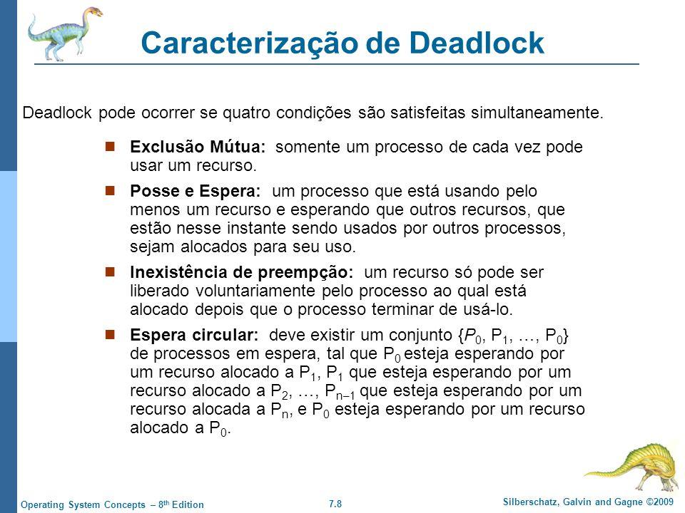 7.8 Silberschatz, Galvin and Gagne ©2009 Operating System Concepts – 8 th Edition Caracterização de Deadlock Exclusão Mútua: somente um processo de ca