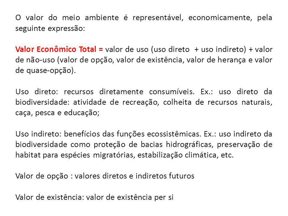 O valor do meio ambiente é representável, economicamente, pela seguinte expressão: Valor Econômico Total = valor de uso (uso direto + uso indireto) +