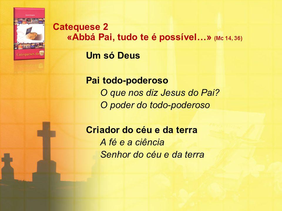 Catequese 2 «Abbá Pai, tudo te é possível…» (Mc 14, 36) Um só Deus Pai todo-poderoso O que nos diz Jesus do Pai? O poder do todo-poderoso Criador do c