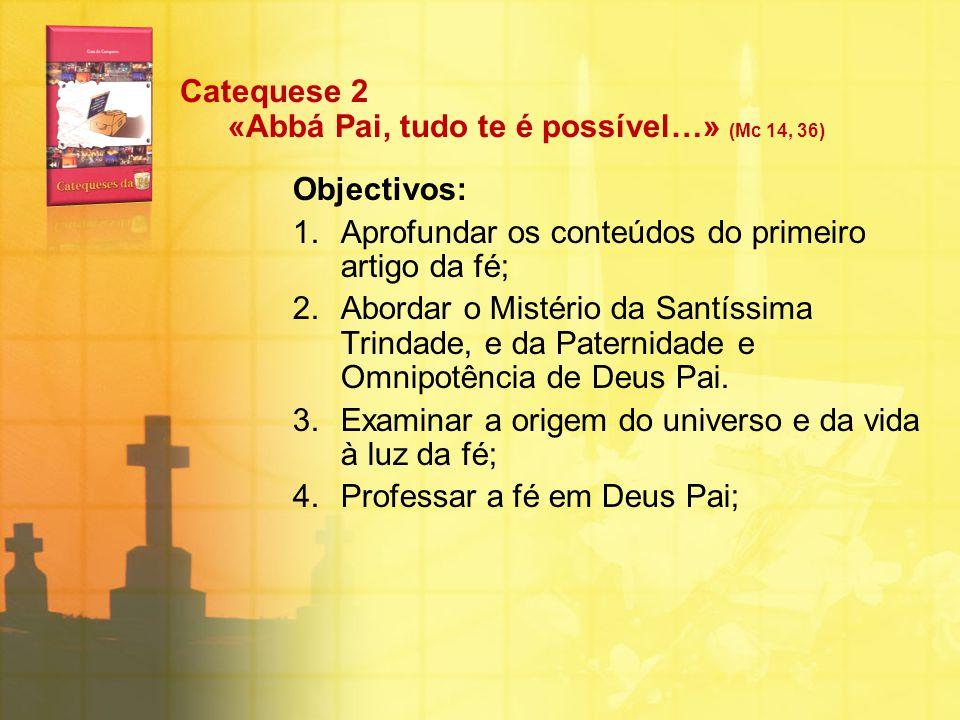 Catequese 2 «Abbá Pai, tudo te é possível…» (Mc 14, 36) Objectivos: 1.Aprofundar os conteúdos do primeiro artigo da fé; 2.Abordar o Mistério da Santís