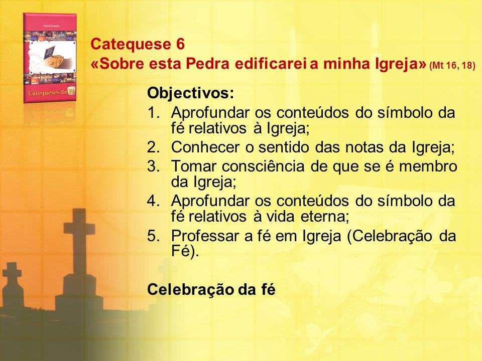 Catequese 6 «Sobre esta Pedra edificarei a minha Igreja» (Mt 16, 18) Objectivos: 1.Aprofundar os conteúdos do símbolo da fé relativos à Igreja; 2.Conh