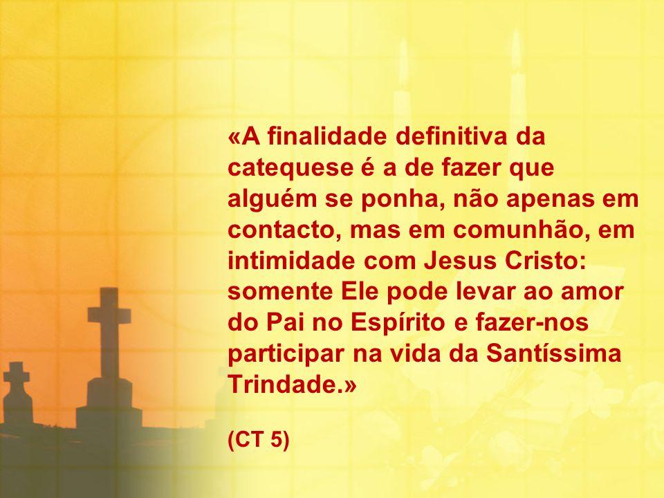 «A finalidade definitiva da catequese é a de fazer que alguém se ponha, não apenas em contacto, mas em comunhão, em intimidade com Jesus Cristo: somen