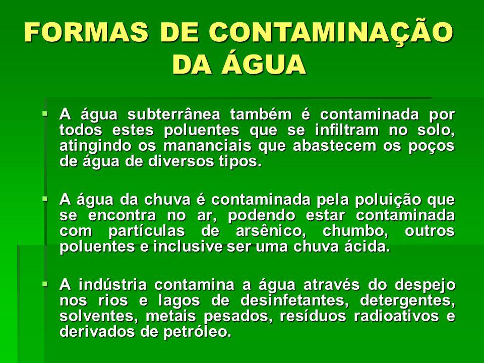  A água subterrânea também é contaminada por todos estes poluentes que se infiltram no solo, atingindo os mananciais que abastecem os poços de água de diversos tipos.