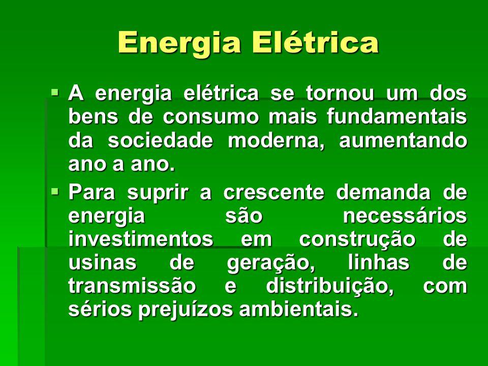 Energia Elétrica  A energia elétrica se tornou um dos bens de consumo mais fundamentais da sociedade moderna, aumentando ano a ano.