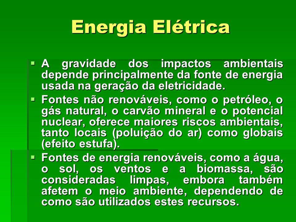 Energia Elétrica  A gravidade dos impactos ambientais depende principalmente da fonte de energia usada na geração da eletricidade.