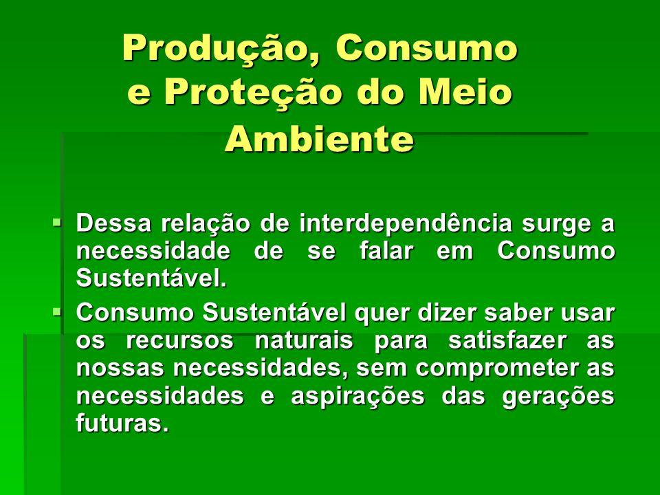 Produção, Consumo e Proteção do Meio Ambiente  Dessa relação de interdependência surge a necessidade de se falar em Consumo Sustentável.