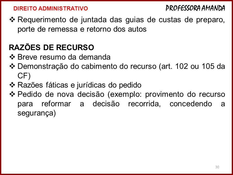 30  Requerimento de juntada das guias de custas de preparo, porte de remessa e retorno dos autos RAZÕES DE RECURSO  Breve resumo da demanda  Demonstração do cabimento do recurso (art.