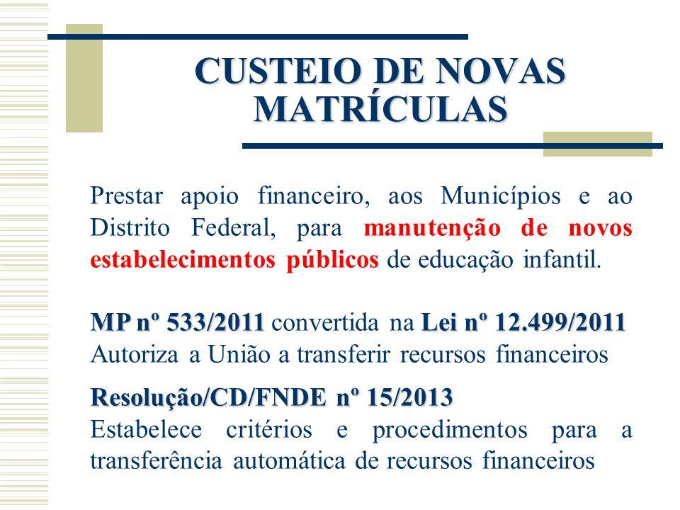 Prestar apoio financeiro, aos Municípios e ao Distrito Federal, para manutenção de novos estabelecimentos públicos de educação infantil. MP nº 533/201