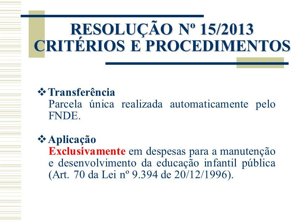 RESOLUÇÃO Nº 15/2013 CRITÉRIOS E PROCEDIMENTOS  Transferência Parcela única realizada automaticamente pelo FNDE.  Aplicação Exclusivamente em despes
