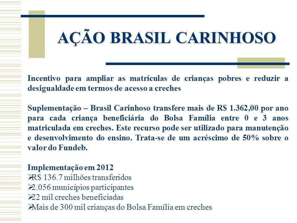 AÇÃO BRASIL CARINHOSO Incentivo para ampliar as matrículas de crianças pobres e reduzir a desigualdade em termos de acesso a creches Suplementação – B