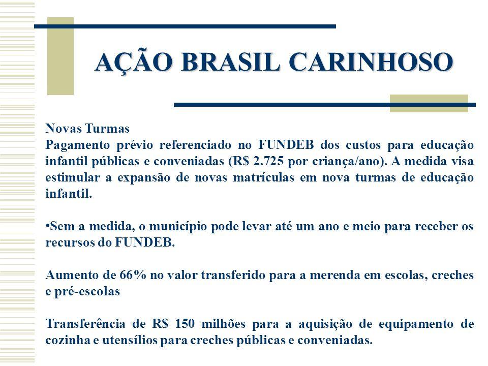 AÇÃO BRASIL CARINHOSO Novas Turmas Pagamento prévio referenciado no FUNDEB dos custos para educação infantil públicas e conveniadas (R$ 2.725 por cria