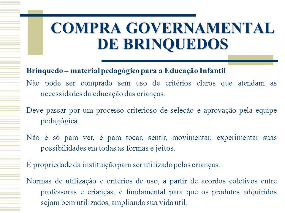 COMPRA GOVERNAMENTAL DE BRINQUEDOS Brinquedo – material pedagógico para a Educação Infantil Não pode ser comprado sem uso de critérios claros que aten