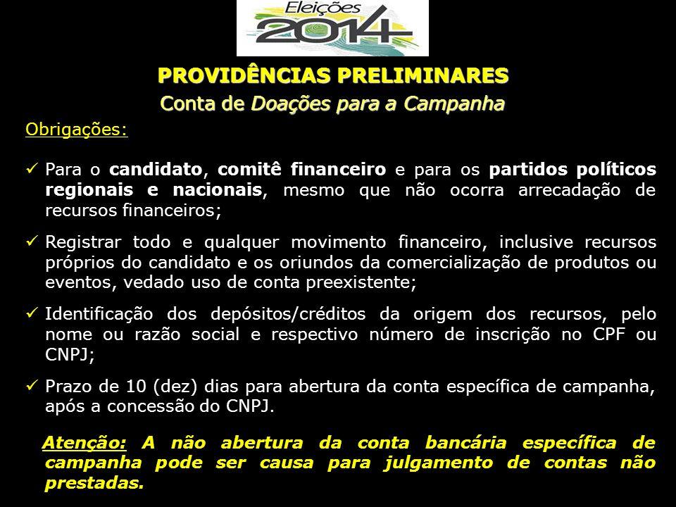 Obrigações: Para o candidato, comitê financeiro e para os partidos políticos regionais e nacionais, mesmo que não ocorra arrecadação de recursos finan