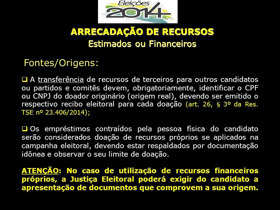  A transferência de recursos de terceiros para outros candidatos ou partidos e comitês devem, obrigatoriamente, identificar o CPF ou CNPJ do doador o