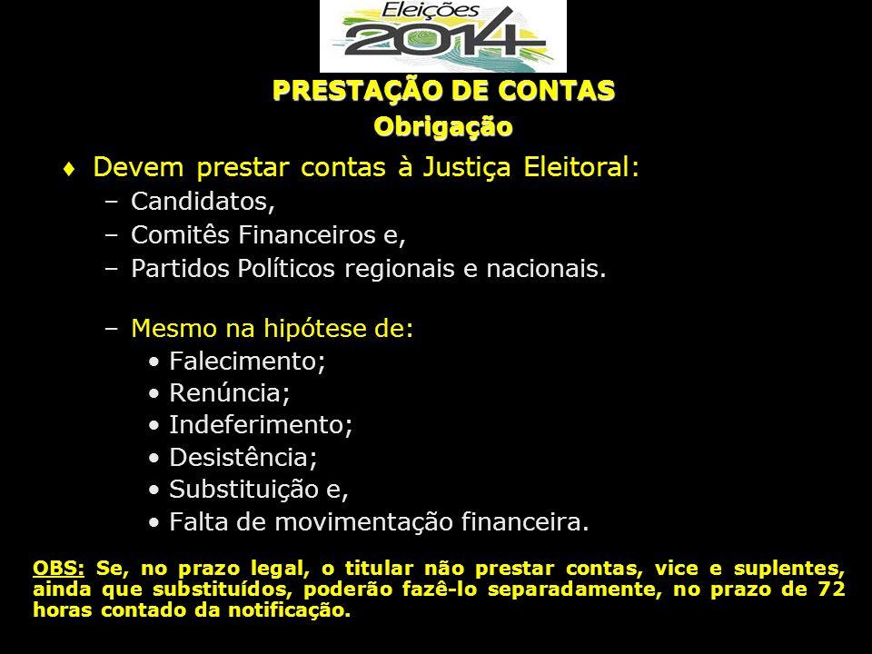  Devem prestar contas à Justiça Eleitoral: –Candidatos, –Comitês Financeiros e, –Partidos Políticos regionais e nacionais. –Mesmo na hipótese de: Fal