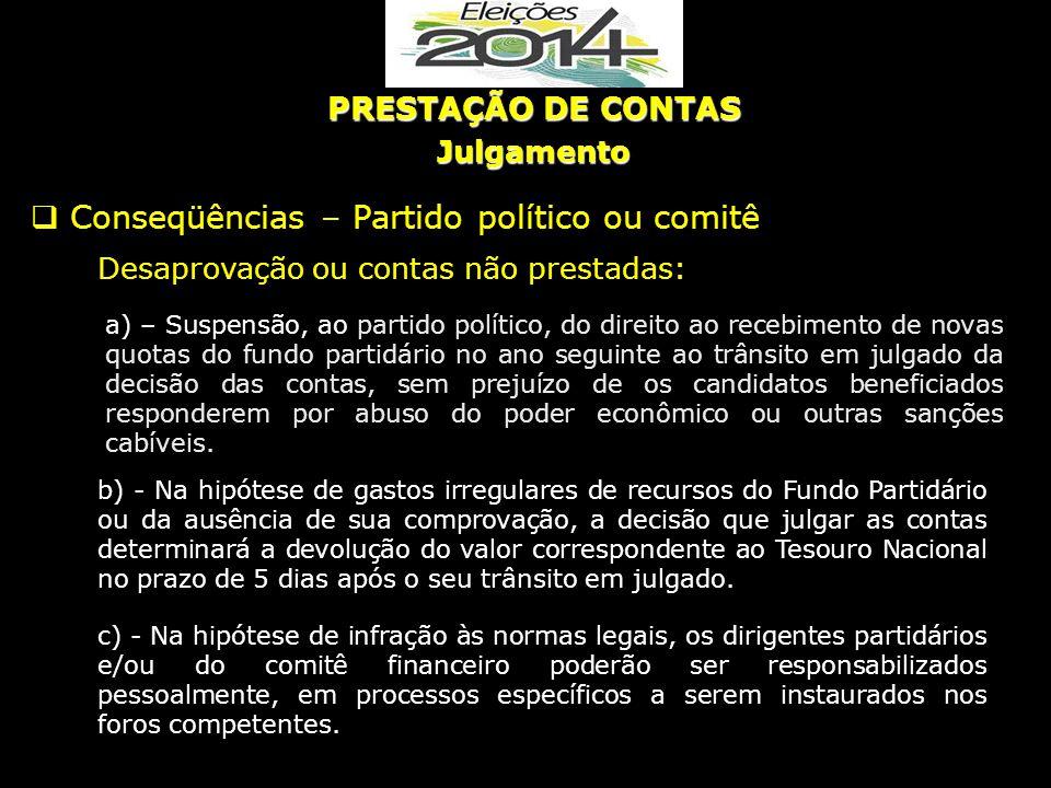 a) – Suspensão, ao partido político, do direito ao recebimento de novas quotas do fundo partidário no ano seguinte ao trânsito em julgado da decisão d