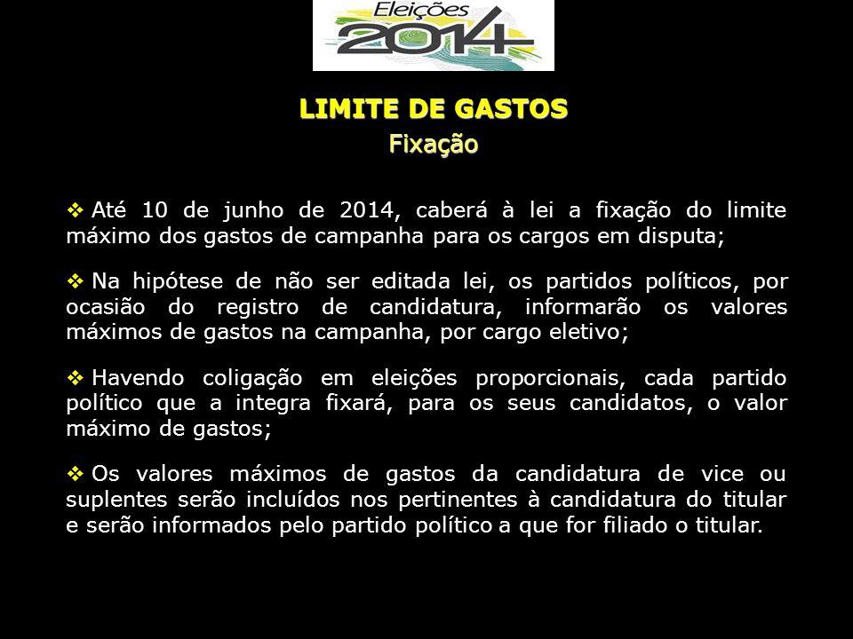  Até 10 de junho de 2014, caberá à lei a fixação do limite máximo dos gastos de campanha para os cargos em disputa;  Na hipótese de não ser editada