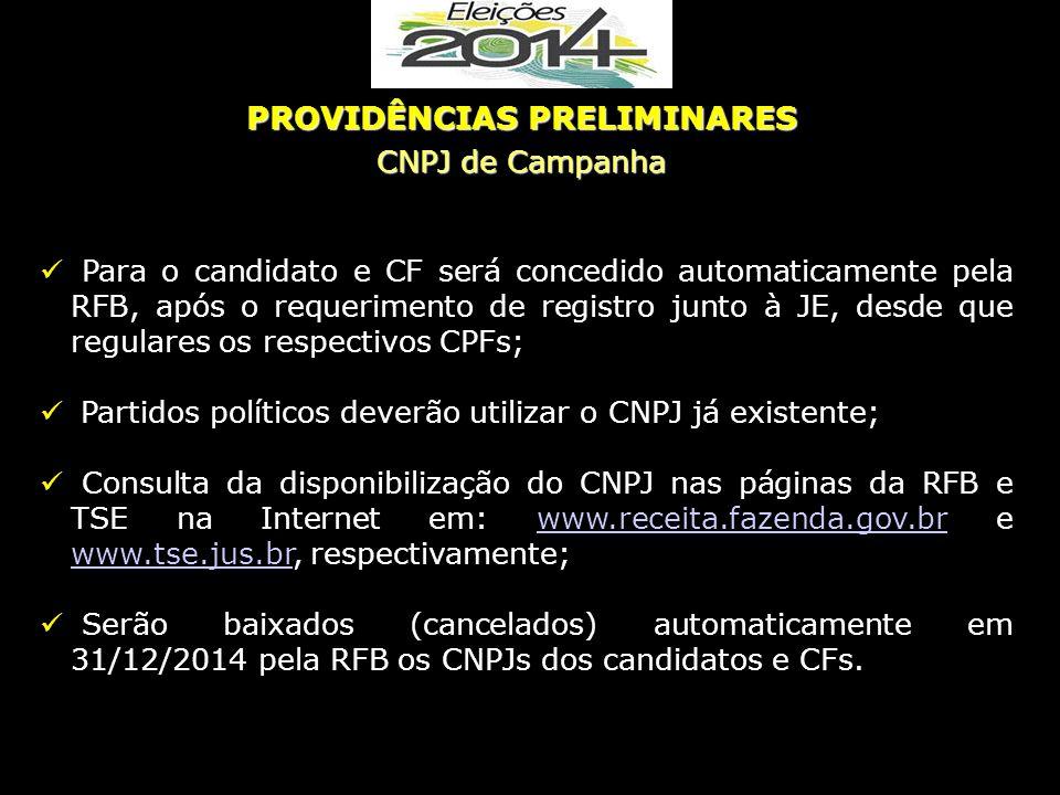 Para o candidato e CF será concedido automaticamente pela RFB, após o requerimento de registro junto à JE, desde que regulares os respectivos CPFs; Pa