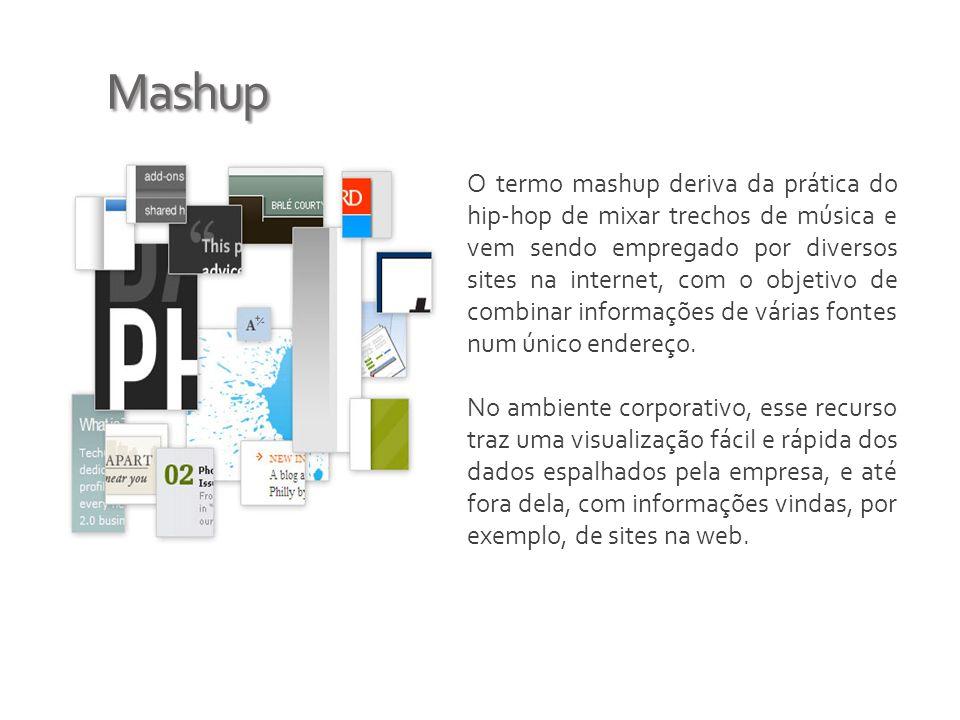 Mashup O termo mashup deriva da prática do hip-hop de mixar trechos de música e vem sendo empregado por diversos sites na internet, com o objetivo de combinar informações de várias fontes num único endereço.