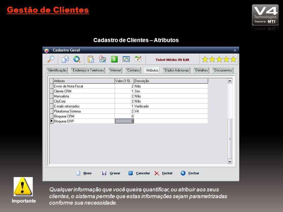 Gestão de Clientes Cadastro de Clientes – Atributos Importante Qualquer informação que você queira quantificar, ou atribuir aos seus clientes, o sistema permite que estas informações sejam parametrizadas conforme sua necessidade.