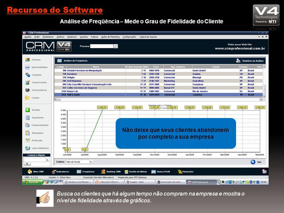 Recursos do Software Análise de Freqüência – Mede o Grau de Fidelidade do Cliente Busca os clientes que há algum tempo não compram na empresa e mostra o nível de fidelidade através de gráficos.